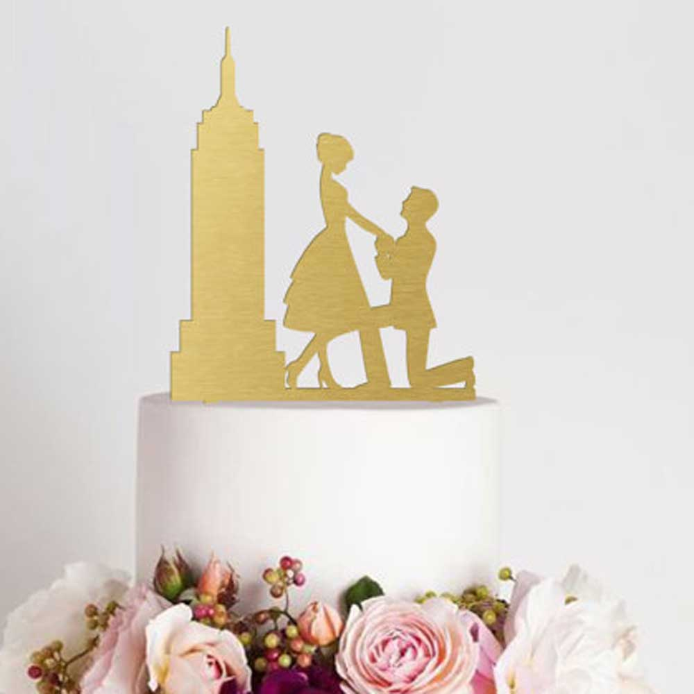 Hot Sale Engagement Cake Topper Silhouette Bridal Shower Cake Topper ...