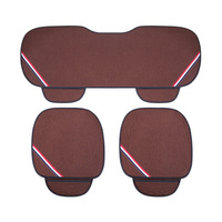 3 Pieces Full Set Car Summer Cotton Linen Breathable Cool Cushion Seat Covers Cars Accessories