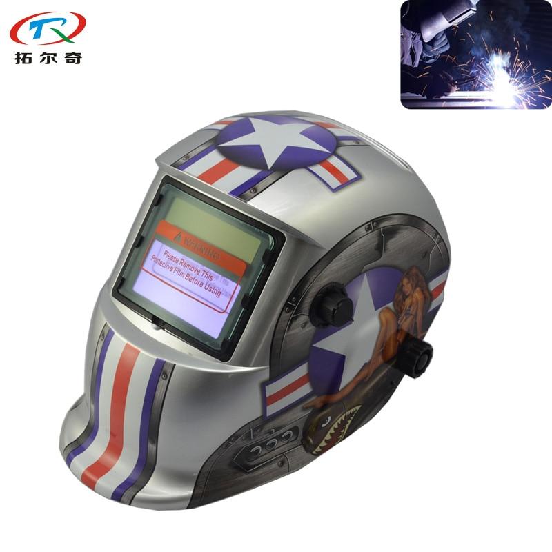 Silver Football Pattern Welding Helmet Solar Powered Li Battery Automatic Darkening DIN9-13 Adjustable TRQ-HD68-2200DE