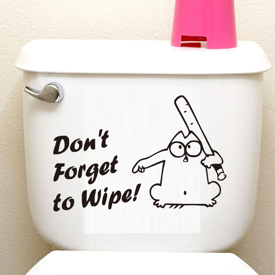Dont Forget To Wipe Cartoon Vinyl Toilet Stickers Wall Decorations Diy adsivos de paredes Home Decor Art Murals Wallpaper