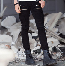 Famous brand high quality luxury men jeans slim elastic pleated Pencil Pants pocket with side zip jeans men denim Biker jeans