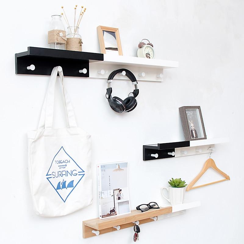 Household Wall Hanging Creative Wooden Iron Storage Rack Holder W// Hooks