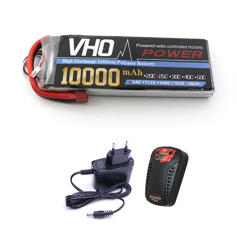 VHO 2S Lipo Battery 7.4V 10000mah 25C and EU charger For S800 S900 S1000 Helicopter RC Model Quadcopter Airplane Drone new 7 4 11 v 2s 3s lipo battery balance charger for rc helicopter quadcopter