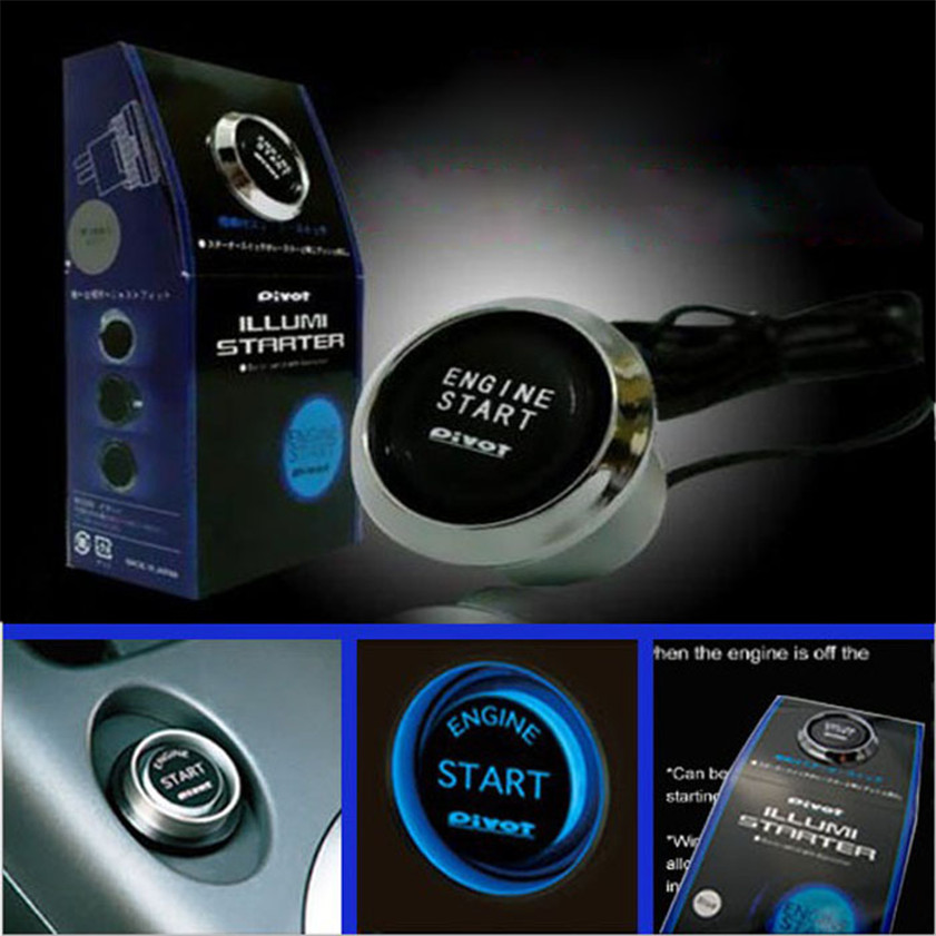 High Quality 12V Car Engine Start Push Button Switch Ignition Starter Kit Blue LED jtron carbon fibre color surface ignition engine start push button toggle switch panel