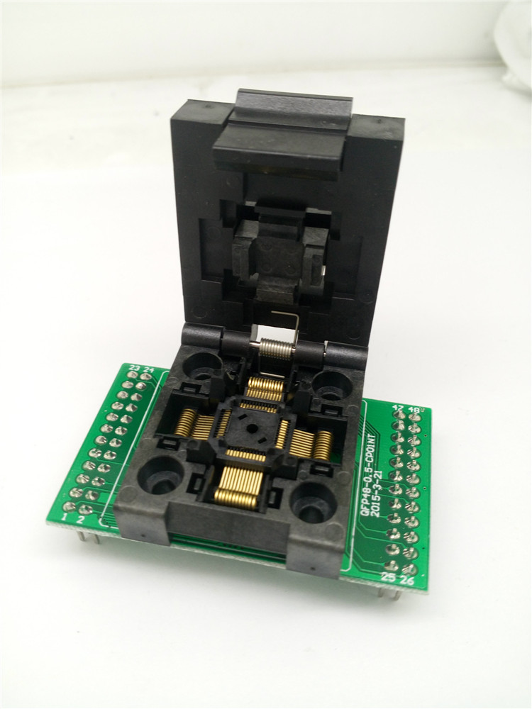 QFP48 TQFP48 LQFP48 Clamshell Programming socket Pitch 0,5mm FPQ-48-0.5-06 Test Socket Flash adaptador Tamaño 7*7mm