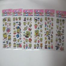 6 Листов/комплект Губка Боб наклейки для детей Домашнего декора Дневник, Тетради Label Украшения игрушки 3D мультфильм пузырь стикер альбом