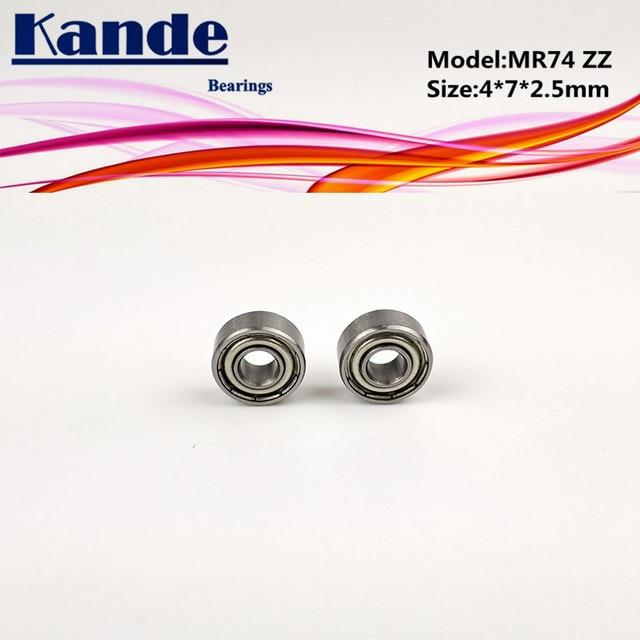 Roulements miniatures Kande   10 pièces MR74ZZ 4*7*2.5mm/ 10 pièces MR74 (sans boucliers) 4x7x2mm, roulement à billes