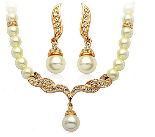 Pearl Bridal Jewelry Sets Cream...