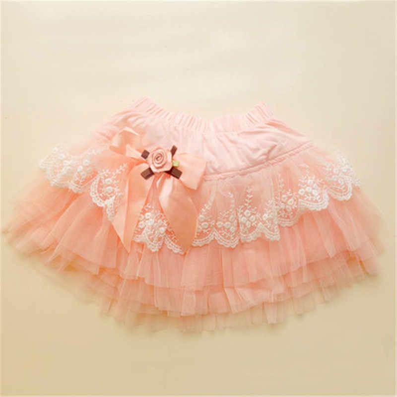 2018 nueva llegada verano niños niñas tutu faldas encantadora tarta arco princesa faldas de encaje de la moda vestido de falda AA2778