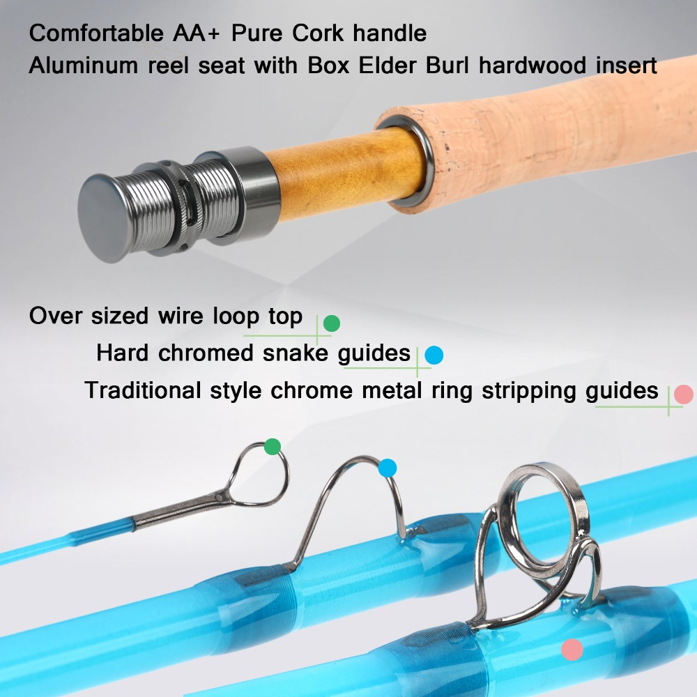 Maximumcatch Glasvezel Fly Staaf S + Glasvezel Met Cordura Tube Matige Action Fly Hengel 7'0''/8'0''/8'6'' 3/4/5WT - 4