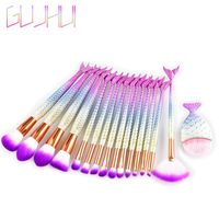 1/15Pcs Professional Kabuki Mermaid Tail Makeup Brushes Set Foundation Concealer Eyeshadow Lip Blush Powder Beauty Brushes Kit Makeup Brushes