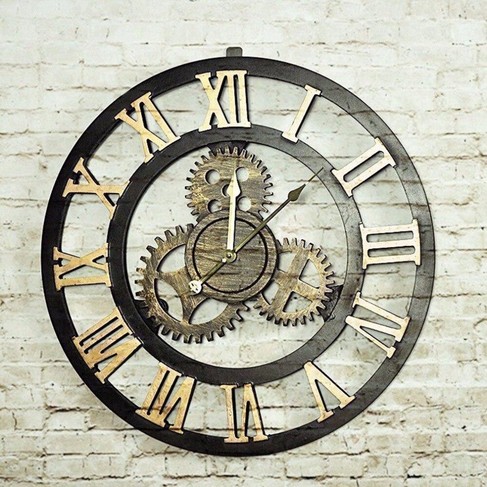 2 Colors Retro Oversize Decor Wall Clock Large Hollow Hanging Artistic Roman Number Quartz Wall Clock For Living Room Shop