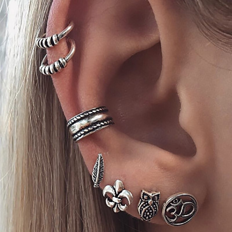 70 Pcs/Set Antique Silver Color Stud Earrings For Women Men Jewelry Anchor Owl Leaf Feather Ear Clip Cuff Piercing Earring Set