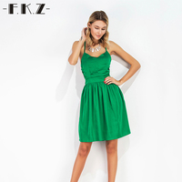 FKZ Summer Dress Women Solid Color Sleeveless Hollow Out Deep V Neck Casual Green Sexy Dresses