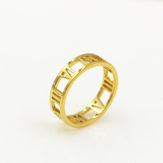 ⑦Модные полые римские количество письмо кольца для ...