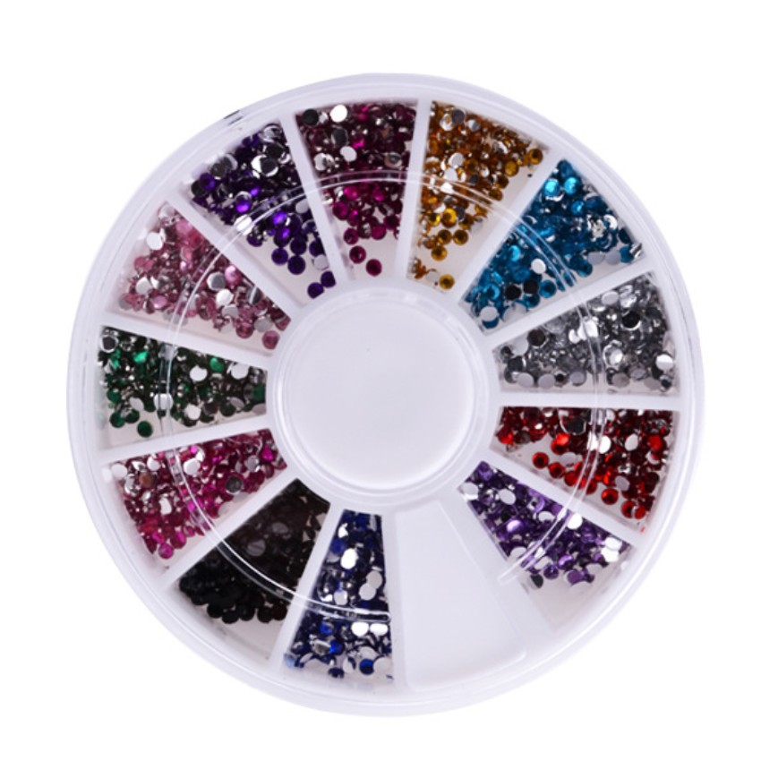 Multicolor 3D Nail Art Acrylic Round Glitter Rhinestones Plate Fingernail Tips Gem Sticker Decal Decoration Wheel 12 Colors 2015 colorful acrylic nail glitter wheel glitter gold plated nail art jewelry women fingernail decoration supply wy165
