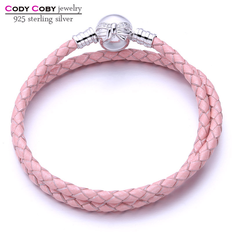 Genuine Long Double Pink Braided Leather Snake Chain Women Bracelets with 925 Sterling Silver Knot Clasp Bow Bracelet Jewelry
