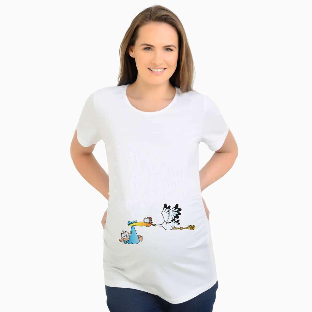 Lustige Druck Störche senden ein Kind schwangeres T-Shirt Kurzarm Umstandsmode Frauen T Shirts Schwangerschaft T-Shirt