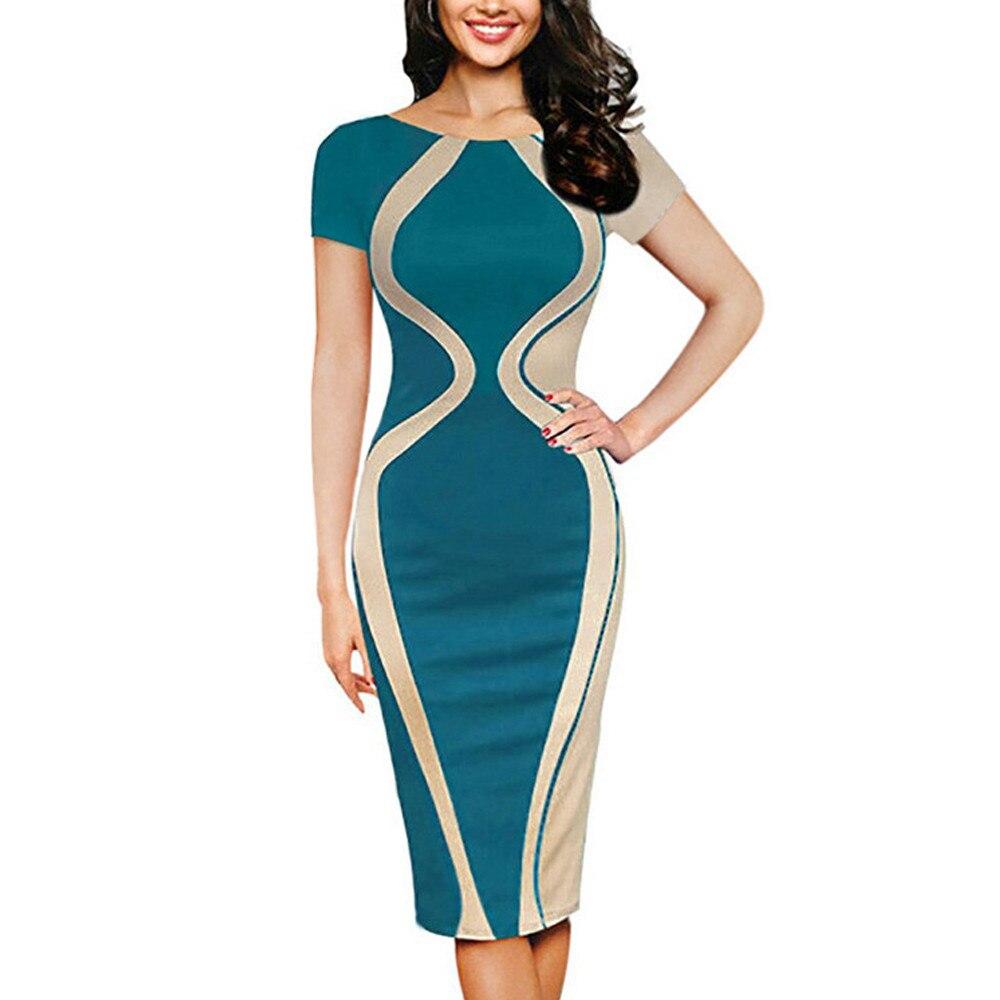 Free Ostrich Fashion Womens Dresses Designer Vestidos 2019 Sexy Bodycon Short Sleeve Party Business Pencil Dress D0335