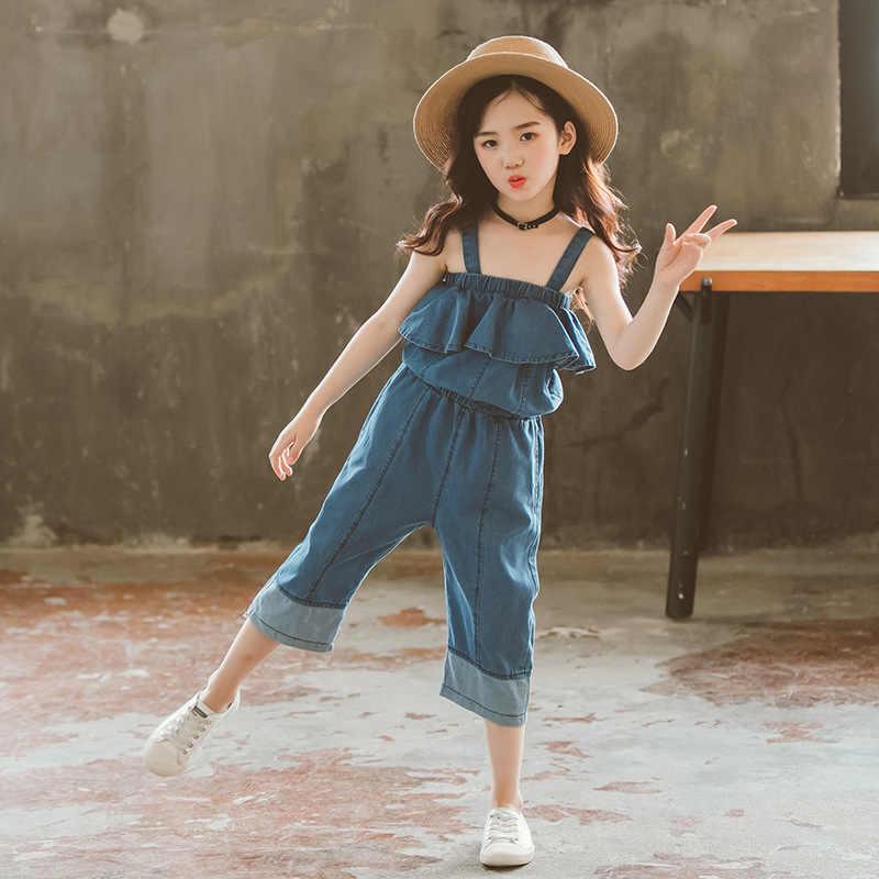 41b42ae51e6 ... 2018 Baby Girls Jeans Kids Overalls Summer Solid Strap Long Denim Pants  Infant Girls Jumpsuit Straight ...