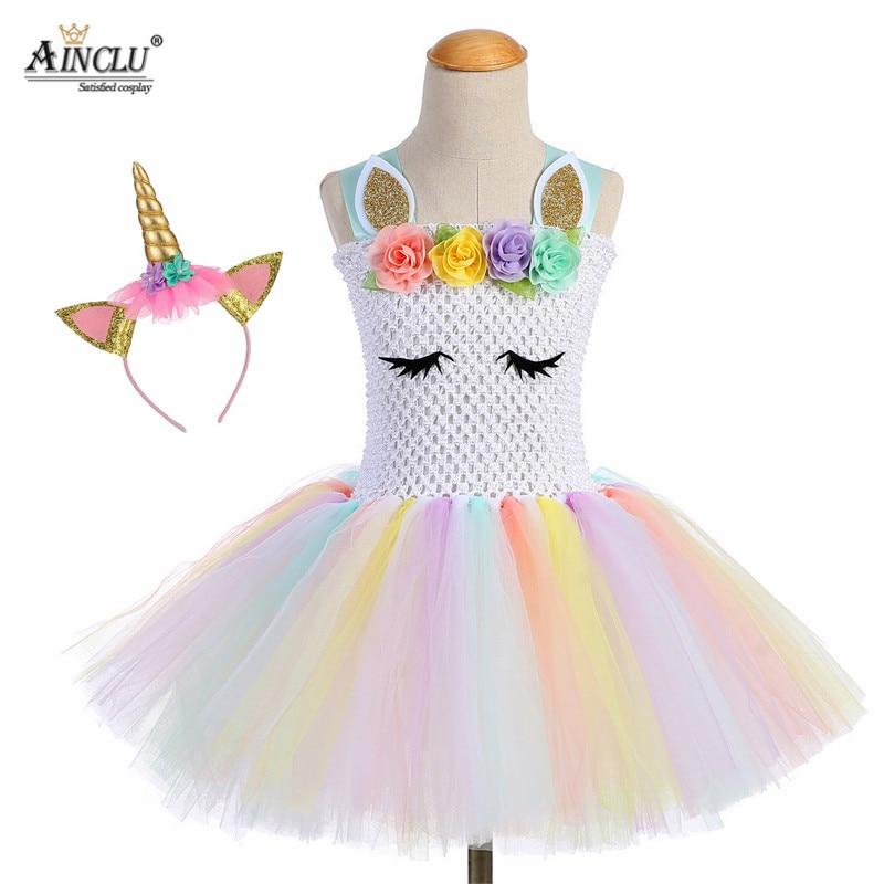 Pastel Rainbow Girls Unicorn Tutu Dress Flower Princess Girls Birthday Party Dress Children Kids Halloween Unicorn Costume 1-14Y