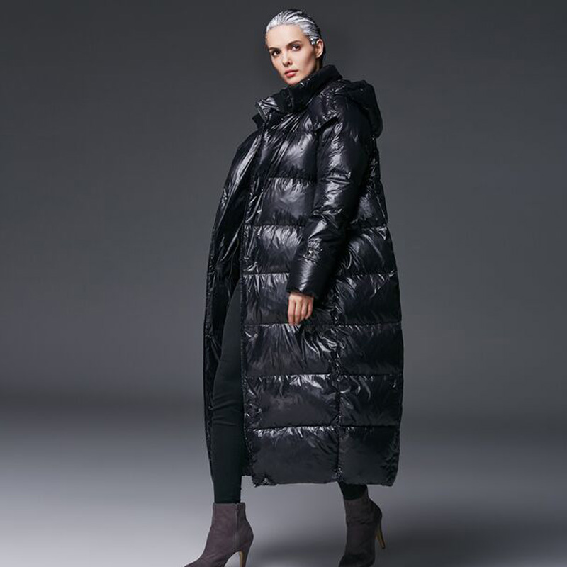 High Quality 2018 Winter Jacket Women White Duck   Down   Jacket   Coat   Thick Snow Outwear Female Jacket Hooded Long Plus Size Parkas