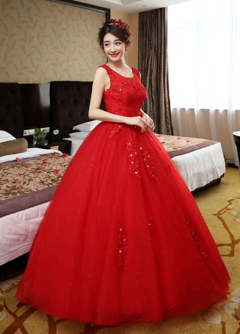 2017 new stock plus size women bridal gown wedding dress ball gown ...