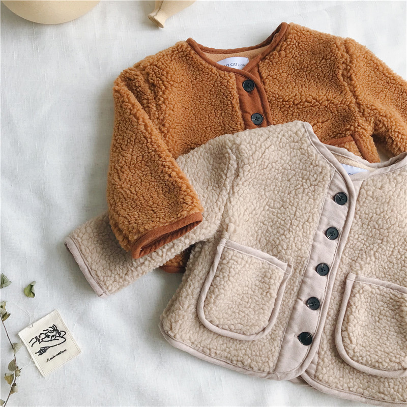2018 Autumn Winter New Arrival Korean Version pure color woolen warm fashion thickened coat for cute sweet baby girls and boys 1