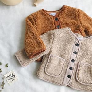 Image 2 - סתיו החורף חדש הגעה קוריאנית גרסה טהור צבע צמר חם אופנה מעובה מעיל עבור חמוד מתוק תינוק בנים ובנות