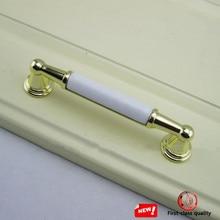 96mm modern simple fashion white gold furniture handles white ceramic kitchen cabinet dresser door handles gold drawer pull knob