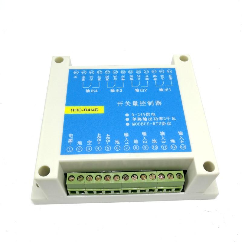 MODBUS RTU Protocol 4 Input And Output Control Relay Module RS485 Switch Input And Output PLC Module