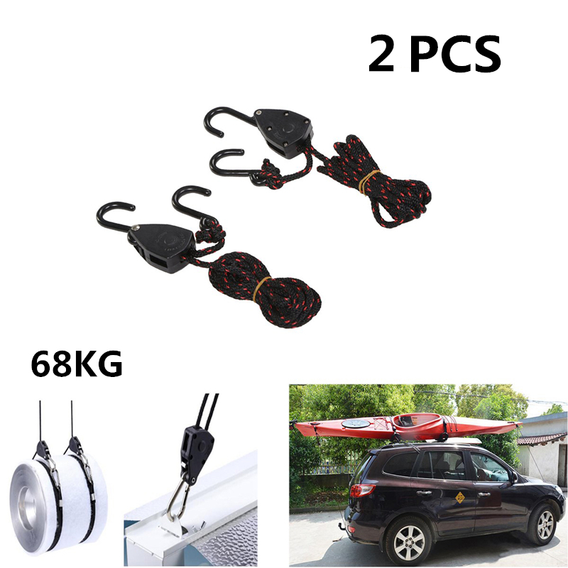 2 PCS Pulley Ratchets Kayak and Canoe Boat Bow and Stern Rope Lock Tie Down Strap 1 8 Inch Duty Adjustable Rope Hanger in Rowing Boats from Sports Entertainment