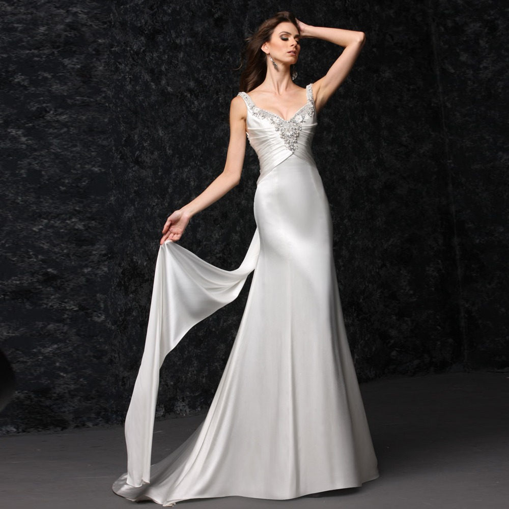 Beach Spaghetti Strap Wedding Gown: Sleeveless Long Tail Backless Spaghetti Strap Beach
