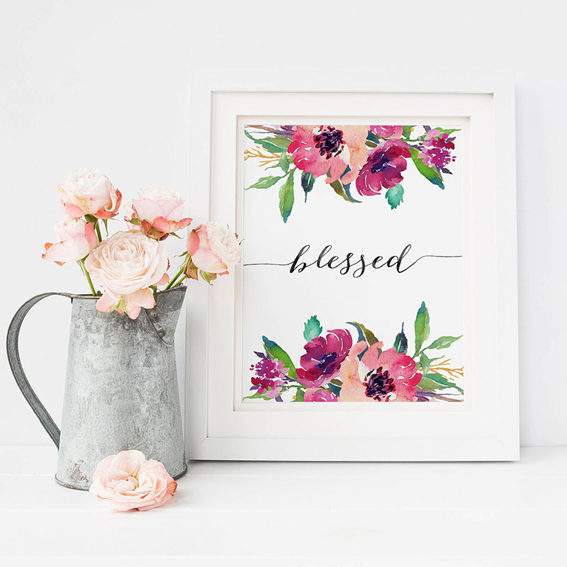 Bible Verse Poster Blessed Wall Art Inspirational Quote Watercolor Canvas Painting Flowers Posters and Prints Home Decoration in Painting Calligraphy from Home Garden