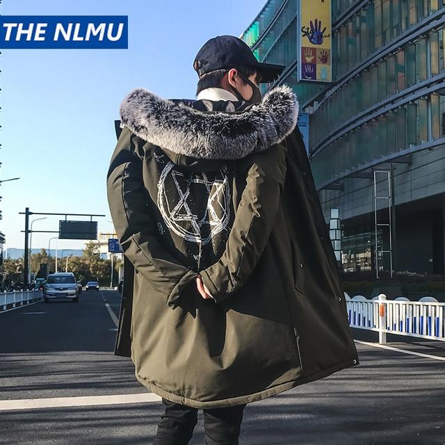 Flash Sale 2018 Fashion Print Parka Hip Hop Long Winter Jacket Men Hooded Fur Collar Parkas Down Streetwear Thick Outcoat Men Clothes Q0340