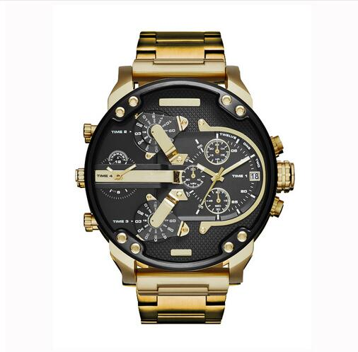 Brand Luxury Watch Men  Dual Time Display Quartz Wrist Watch With Stainless Steel Band Quartz Wristwatches