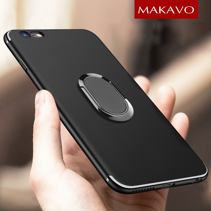 MAKAVO For iPhone X Case Soft Silicone Car Magnetic Ring Holder Housing Phone Cases For iPhone 6 6s 6 7Plus 8 Plus X 10 Cover