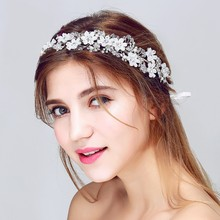 Dower me Silver Beaded Floral Bridal Headband Handmade Wedding Hair Accessories Women Jewelry Crystal Headbands with ribbon