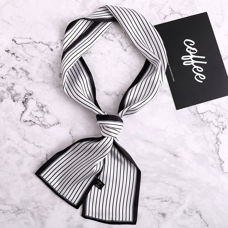 2019 Autumn Trendy New Skinny Scarf Heart Dots Pirnting Faux Silk Scarf Women Wristband Headbands Accessories