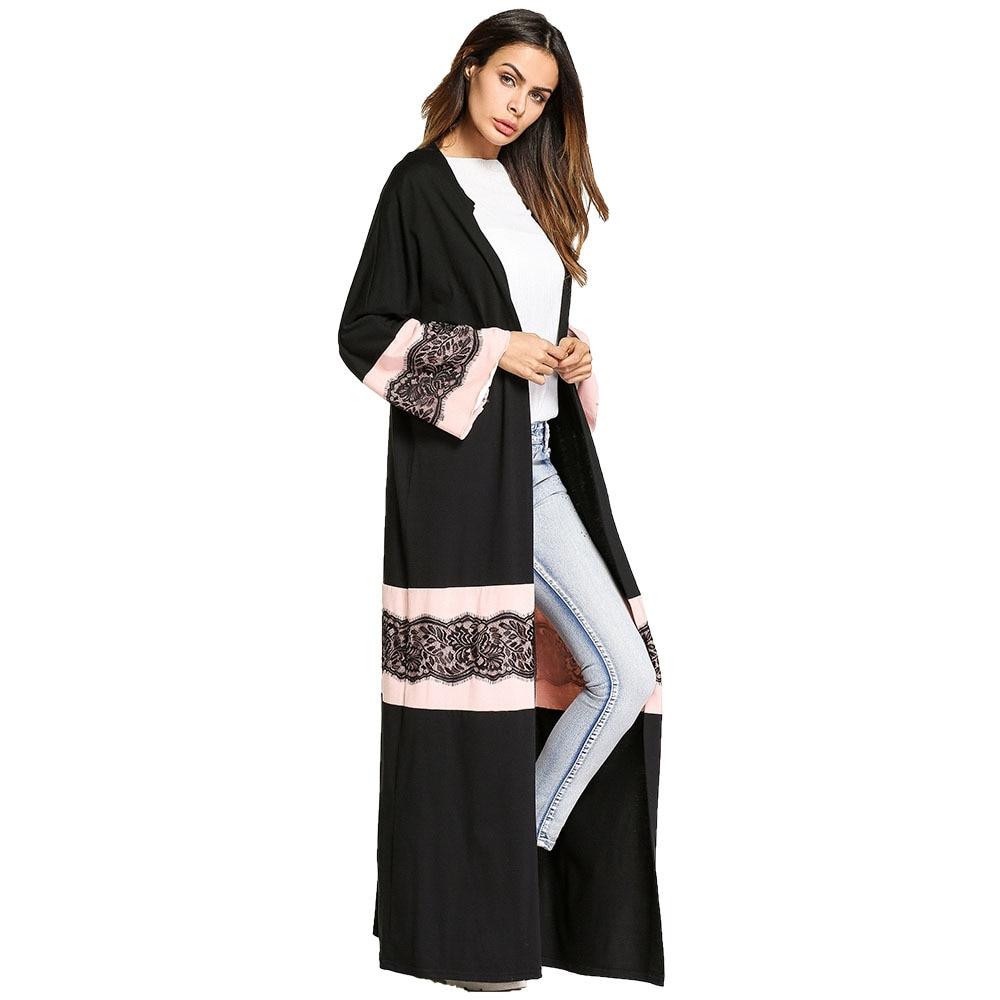 #1865780 Color Contrast Loose Cardigan Style Dresses Muslims Long Arabia Lace Hooked Flower Decoration Dresses Musulman Ladies