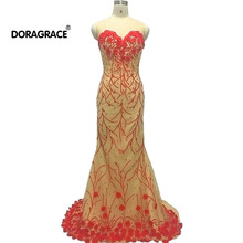 Doragrace vestidos de fiesta Real Photo Applique Embroidery Evening Dresses Mermaid Party Gowns Champagne