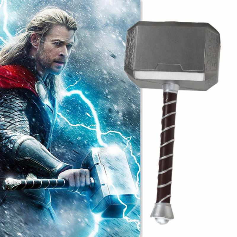 44cm Thor's Hammer Cosplay 1:1 Thor Thunder Hammer Figure Weapons Model Kids Gift Movie Role Playing Safety PU Material Toy