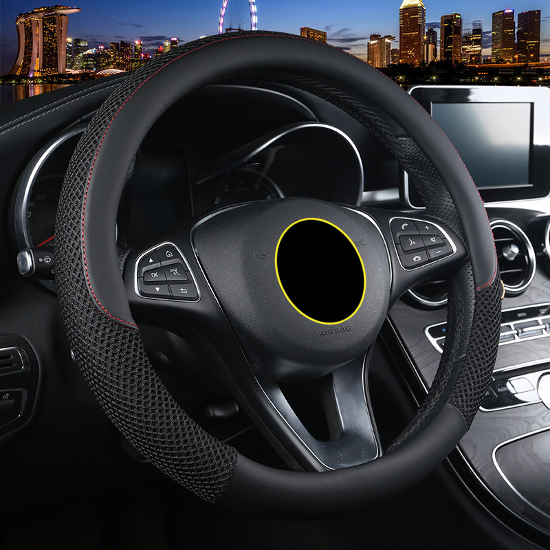 breathable auto steering wheel covers case leather skin braided for cars styling 36.5-38cm universal black interior accessories