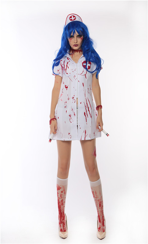 Ladies Halloween Zombie Bloody Nurse Costume Fancy Dress Party Outfits