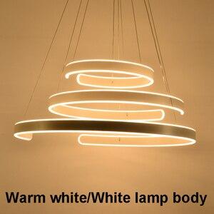Image 5 - AC90 264VModern pendant lights for living room dining room Geometry Circle Rings acrylic aluminum body LED Lighting ceiling Lamp