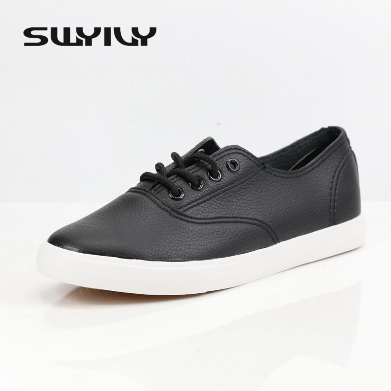 Women Genuine Leather Flat Canvas Tennis Shoes  1