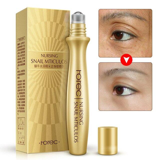 Suero de ojos Esencia de Caracol antiarrugas para ojos Anti Puffiness contra bolsas crema de solución de ácido hialurónico