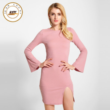 Women Casual font b Dress b font Vestidos 2016 New Autumn Flare Sleeve Knitted sexy bandage