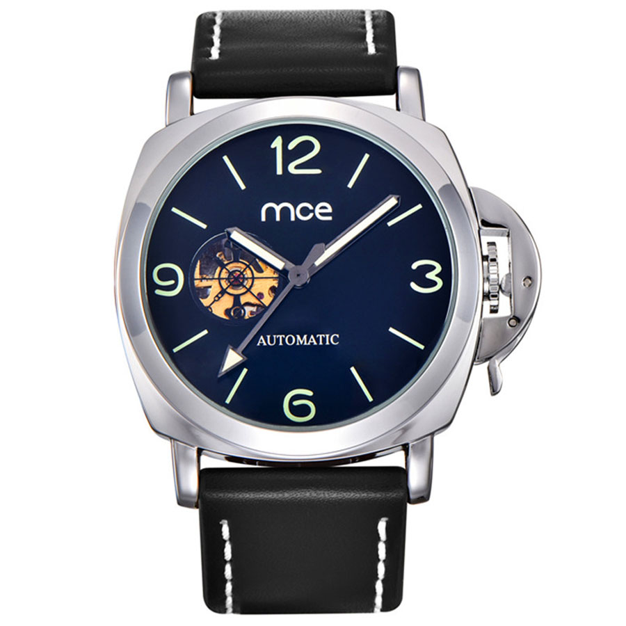 MCE Fashion Casual Series Leather Military Skeleton Automatic Wrist Watch Top Brand Luxury Skeleton Sport Watches Mens Clock mce automatic watches luxury brand mens stainless steel self wind skeleton mechanical watch fashion casual wrist watches for men