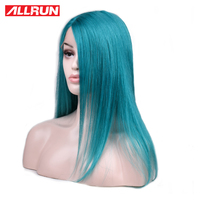 ALLRUN Brazilian Straight Hair Lace Front Human Hair Wigs 4*4 Middle Part Lace Front Wig Green Color Non Remy Lace Front Wig